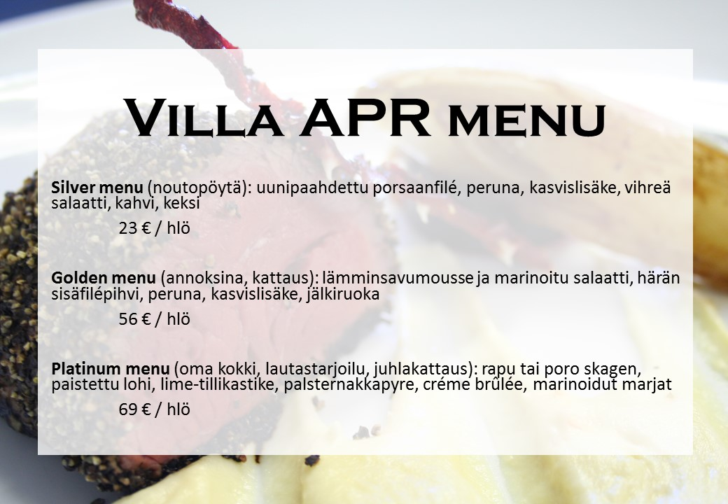 Villa APR menu